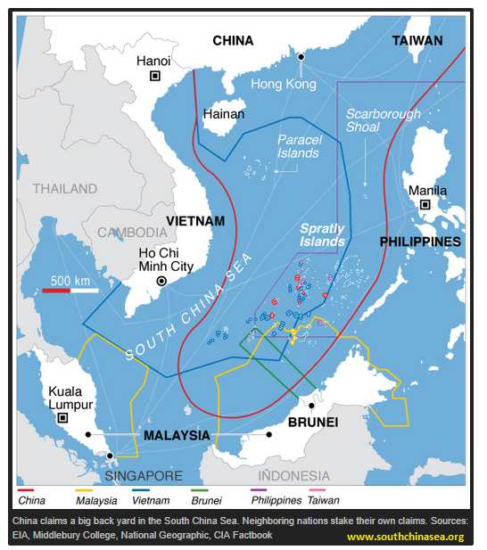 This Map Depicts Often Confusing And Tense Situation Surrounding Conflicting Territorial Claims In The South China Sea More Information On The Dispute Can